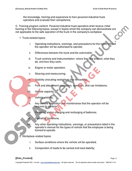 Osha safety manual 02 code of safe work practices